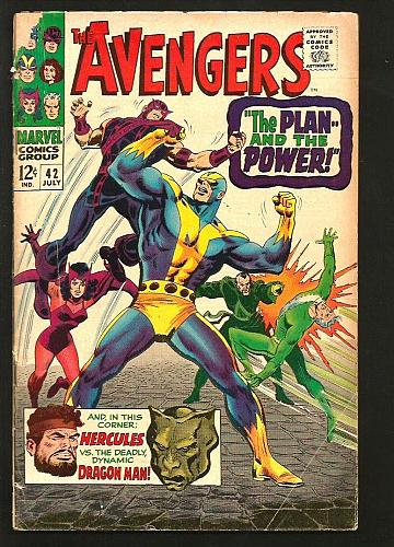 AVENGERS #42 VG- Marvel Comics 1st Print & Series 1967 Dragon Man Hercules