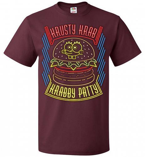 Krusty Krab Krabby Patty Adult Unisex T-Shirt Pop Culture Graphic Tee (M/Maroon) Humo