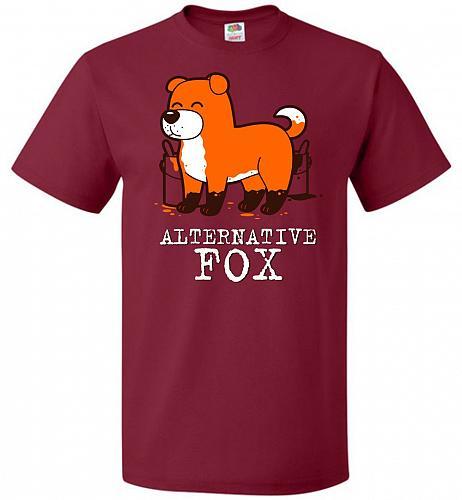 Alternative Fox Unisex T-Shirt Pop Culture Graphic Tee (XL/Cardinal) Humor Funny Nerd