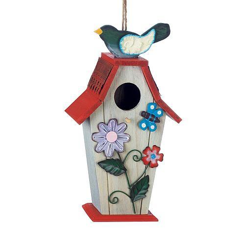 *18424U - Garden Birdie Butterfly Wood & Iron Birdhouse