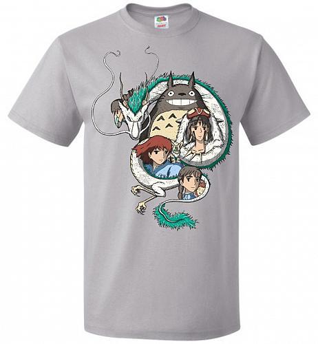 Ghibli Unisex T-Shirt Pop Culture Graphic Tee (M/Silver) Humor Funny Nerdy Geeky Shir