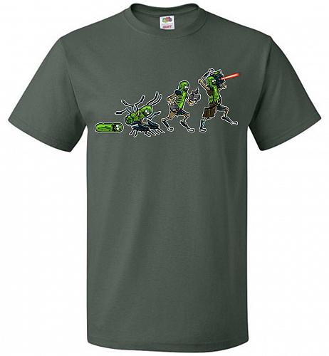 Pickle Rick Evolution Unisex T-Shirt Pop Culture Graphic Tee (S/Forest Green) Humor F