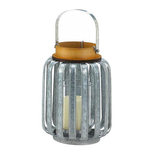 """*18514U - Large 10.5"""" Galvanized Metal Pillar Candle Lantern"""