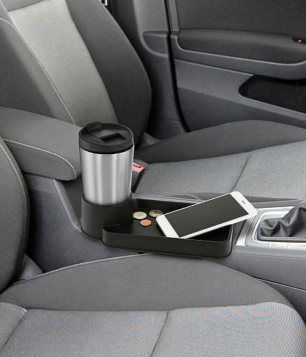 :10687U - Auto Cup Holder Tray Black Seat Clip