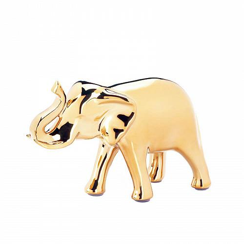 "*18253U - Small 4.75"" High Shine Golden Elephant Figure"