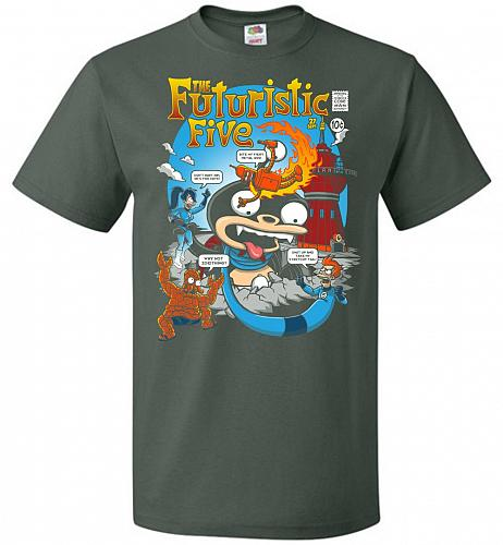 Futuristic Five Unisex T-Shirt Pop Culture Graphic Tee (L/Forest Green) Humor Funny N