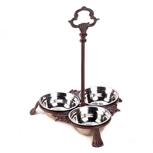 *18284U - Brown 3 Bowl Cast Iron Pet Bowls Stand w/Handle