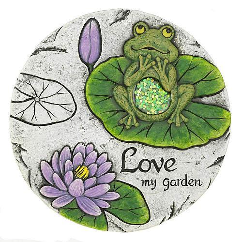 """*18533U - Love My Garden Frog 10"""" Cement Garden Stepping Stone"""