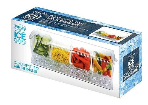 :11001U - Condiment Tray 4 Compartment w/ Ice Chiller
