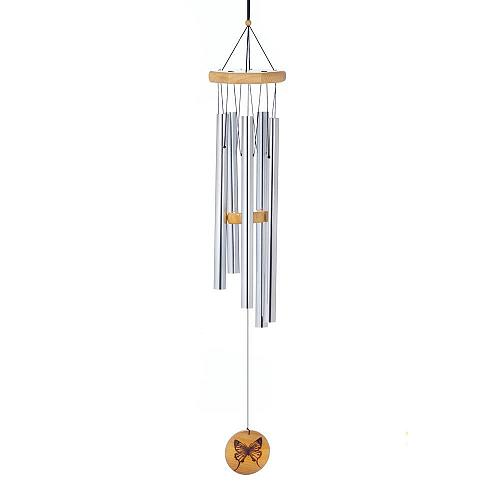 "*18227U - Silver 36"" Silver Aluminum Wind Chimes Wood Butterfly Ornament"