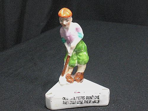 Porcelain Golf Humor Figural Ashtray Snuffer Japan Old Golfers Don't Die Vintage