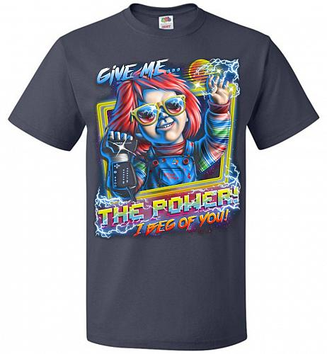 Give Me The Power Chucky Adult Unisex T-Shirt Pop Culture Graphic Tee (2XL/J Navy) Hu