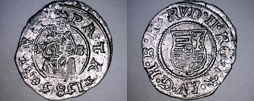 1585-KB Hungary 1 Denar World Silver Coin - Madonna with Child - Rudolf II