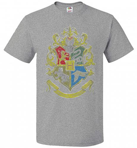 Hogwart's Crest Adult Unisex T-Shirt Pop Culture Graphic Tee (L/Athletic Heather) Hum