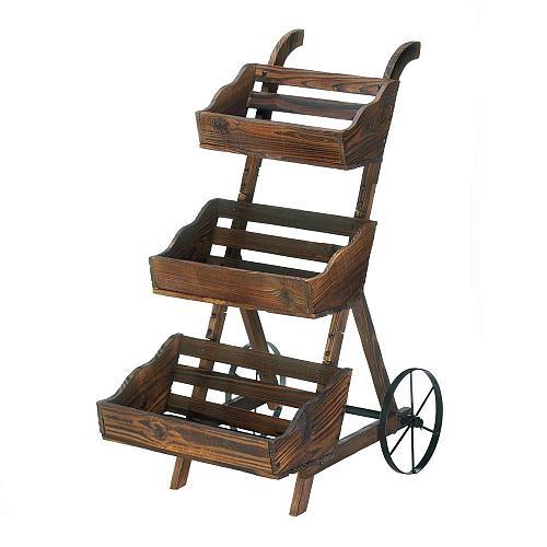 *18431U - Fir Wooden 3-Tier Plant Cart Stand Iron Wheels