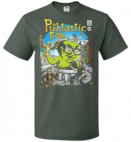 Pubtastic Five Unisex T-Shirt Pop Culture Graphic Tee (M/Forest Green) Humor Funny Ne