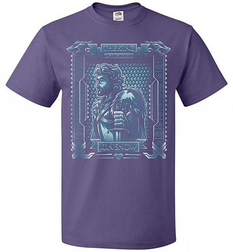 Jon Snow King Of The North Adult Unisex T-Shirt Pop Culture Graphic Tee (S/Purple) Hu