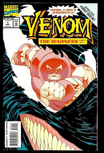 VENOM #1 NM- The Madness Embossed Card-Stock Cover Ann Nocenti Kelley Jones 1993