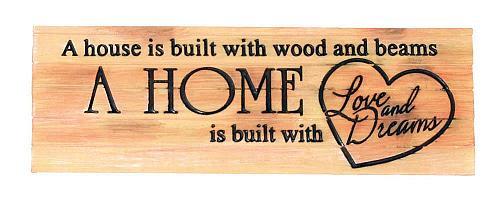 :10781U - A Home Is Built w/Love Decorative Sign Plaque