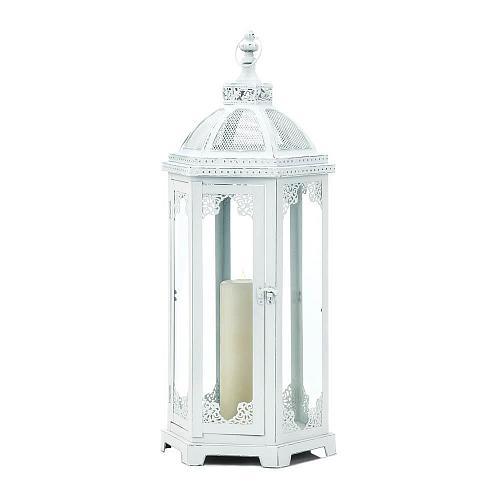 "*18548U - Grecian Distressed White 25"" Iron Pillar Candle Lantern Candleholder"