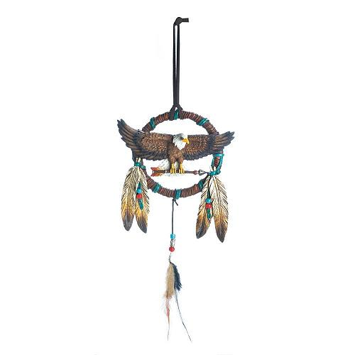 *18471U - Eagle Figure Feather Dreamcatcher Wall Decoration