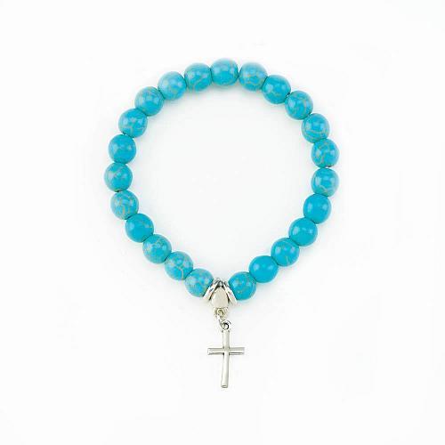 """:11023U - Cross Charm Turquoise 7.5"""" Stretch Bracelet"""