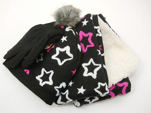 Girls 3 PC Knit Set Scarf Hat Gloves Black Star Print One Size Shearling