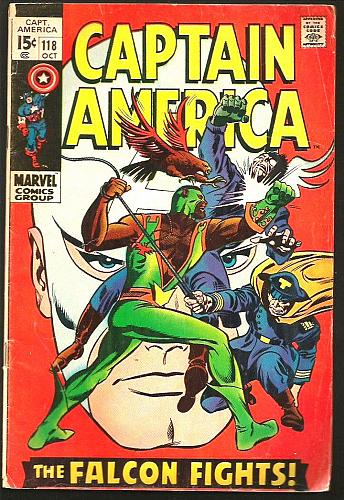CAPTAIN AMERICA #118 Marvel Comics 1st Print'69 GENE COLAN Stan Lee 2nd Falcon