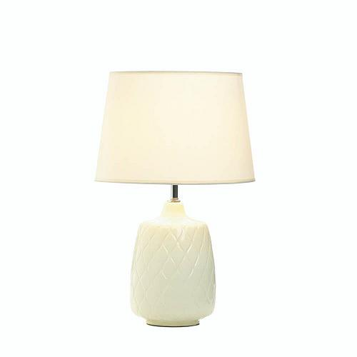 *18019U - Quilted Diamonds White Ceramic Base Table Lamp w/Shade