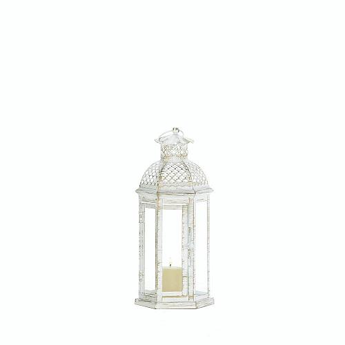 "*18347U - White 11"" Iron Frame Moroccan Lattice Pillar Candle Lantern"
