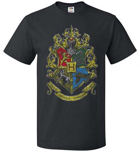 Hogwart's Crest Adult Unisex T-Shirt Pop Culture Graphic Tee (2XL/Black) Humor Funny