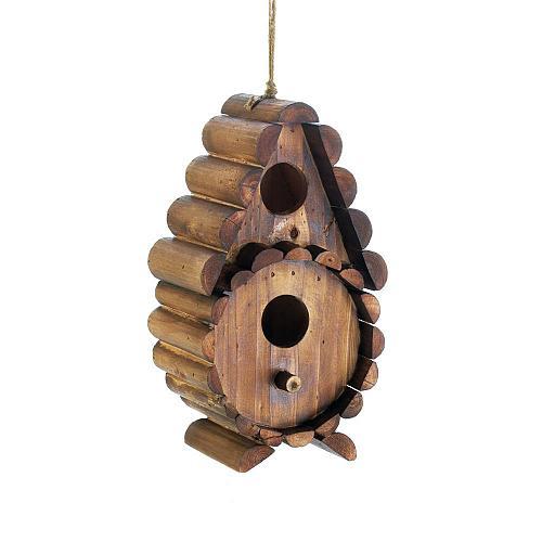 *18411U - Round Log Teardrop Brown Fir Wood Birdhouse