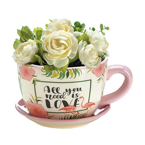 "*18328U - Pink Flamingo 8 1/4"" Dolomite Teacup Planter"