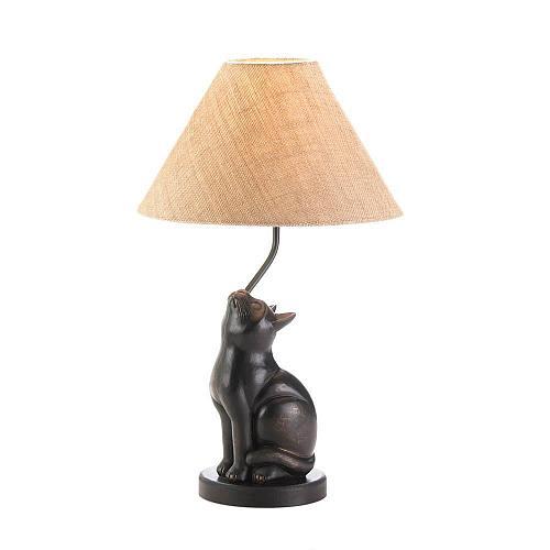 *17446U - Curious Black Cat Figure Iron Table Lamp
