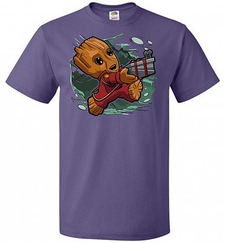 Tiny Groot Unisex T-Shirt Pop Culture Graphic Tee (L/Purple) Humor Funny Nerdy Geeky