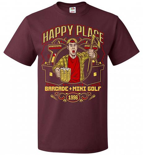 Gilmore's Happy Place Adult Unisex T-Shirt Pop Culture Graphic Tee (4XL/Maroon) Humor