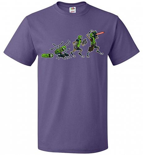 Pickle Rick Evolution Unisex T-Shirt Pop Culture Graphic Tee (2XL/Purple) Humor Funny
