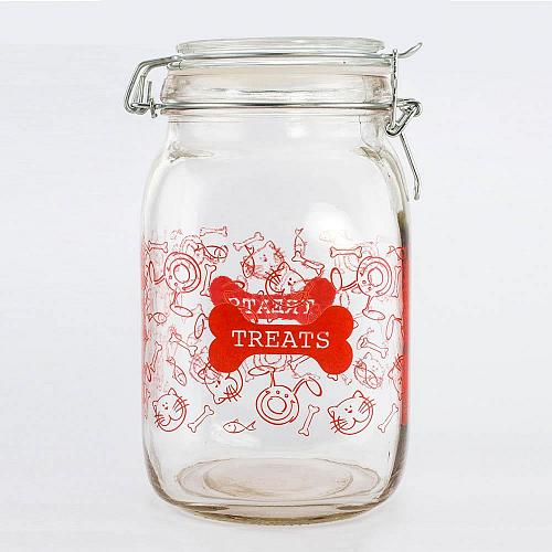 :10824U - 52oz Clear Glass Pet Treat Canister Red Print