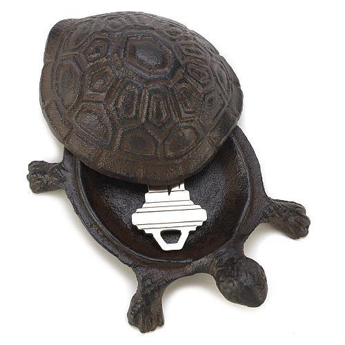 14965U - Turtle Figure Cast Iron Key Hider Garden Decor