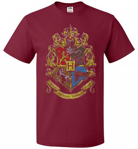 Hogwart's Crest Adult Unisex T-Shirt Pop Culture Graphic Tee (M/Cardinal) Humor Funny