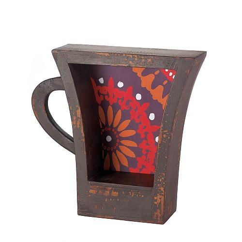 *17107U - Dark Coffee Cup Shelf Orange Pattern Background