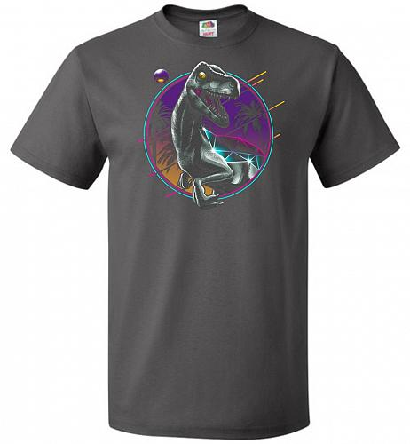 Rad Velociraptor Unisex T-Shirt Pop Culture Graphic Tee (6XL/Charcoal Grey) Humor Fun
