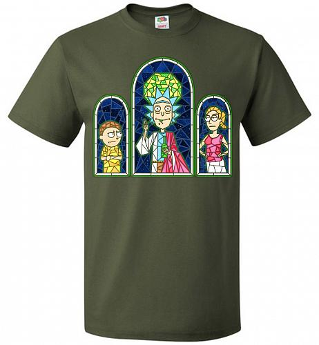 Rick And Morty Stain Glass Unisex T-Shirt Pop Culture Graphic Tee (S/Military Green)