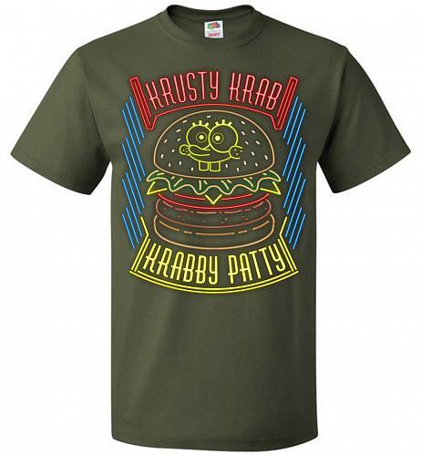 Krusty Krab Krabby Patty Adult Unisex T-Shirt Pop Culture Graphic Tee (5XL/Military G