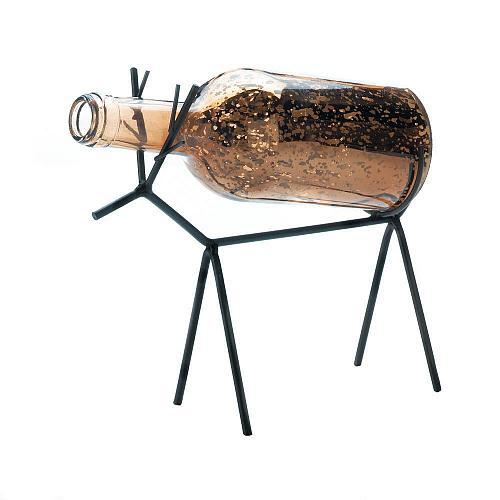 *18428U - Glass Bottle LED Light Reindeer Lantern