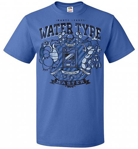 Water Type Champ Pokemon Unisex T-Shirt Pop Culture Graphic Tee (2XL/Royal) Humor Fun