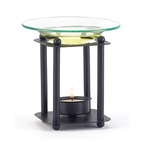 38217U - Modern Art Black Metal Oil Burner Glass Dish