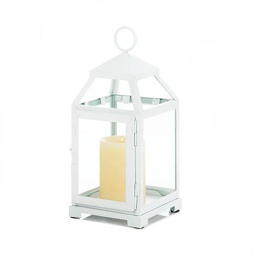 "*18115U - Medium 12"" White Contemporary Metal Pillar Candle Lantern"