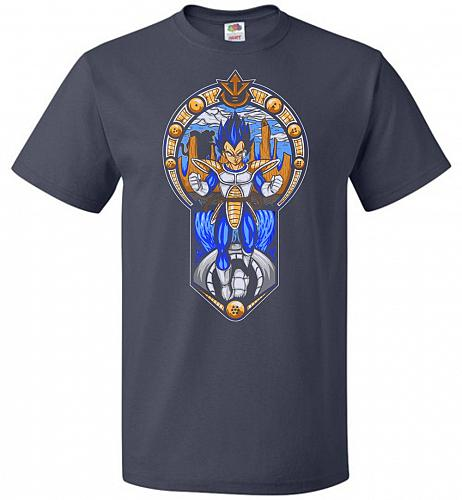 Prince Of All Sayians Unisex T-Shirt Pop Culture Graphic Tee (5XL/J Navy) Humor Funny