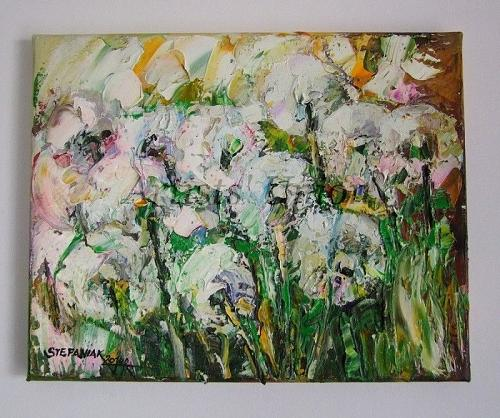 Dandelions Original Oil Painting Meadow Wild Flowers Impressionist Textured Art